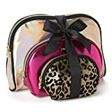 Juicy Couture Cosmetic Makeup Bags: Compact Travel Toiletry Bag Set in Small, Medium and Large for Women and Girls - Gold, Pink & Cheetah