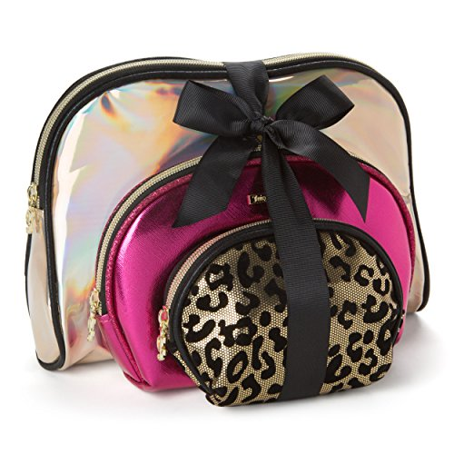 Juicy Couture Cosmetic Makeup Bags: Compact Travel Toiletry Bag Set in Small, Medium and Large for Women and Girls - Gold, Pink & Cheetah]()
