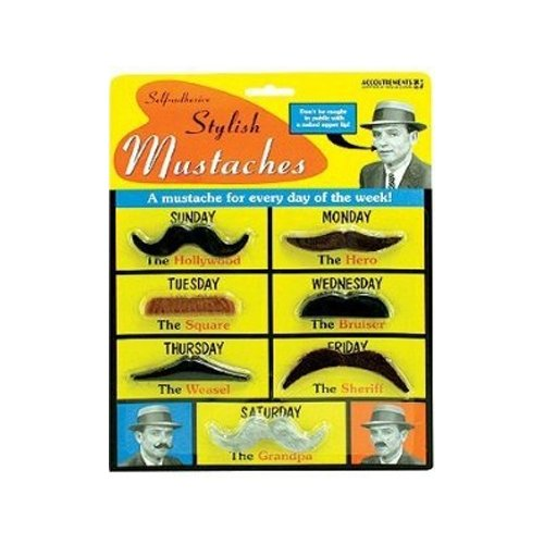 [Archie McPhee Stylish Mustaches, 7 Pack] (Fake Mustache Kit)
