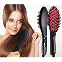 Liolis Ceramic Professional Electric Hair Straightener Brush with Temperature Control and Digital Display Brush For Women