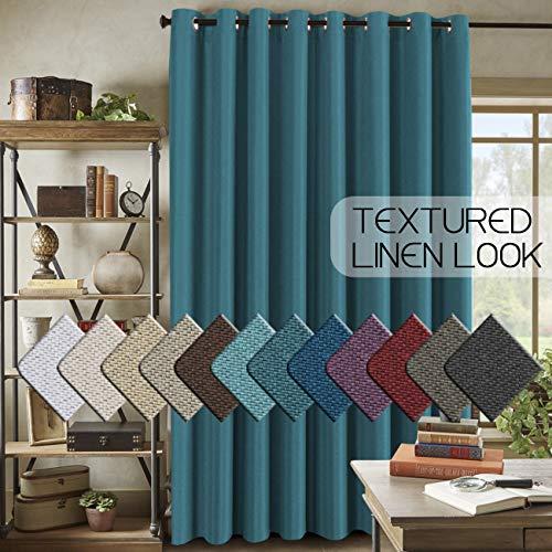 "H.VERSAILTEX Room Darkening Linen Curtain for Sliding Door (100"" W x 84"" L) Extra Wide Primitive Burlap Textured Linen Room Divider Curtain for Living Room/Patio (7ft Tall by 8.5ft Wide, Aegean Blue)"