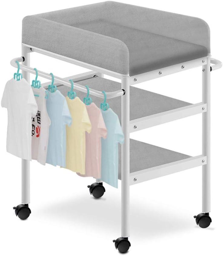 0-3歳の幼児に適したユニバーサルホイール、保育園幼児ドレッサー収納付きのおむつステーションを交換する赤ちゃん (Color : Gray)