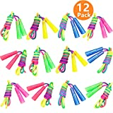 12 Pack Rainbow Jump Ropes, 7.5ft Vibrant Jumping Ropes for Kids, Durable Nylon Skipping Ropes,...