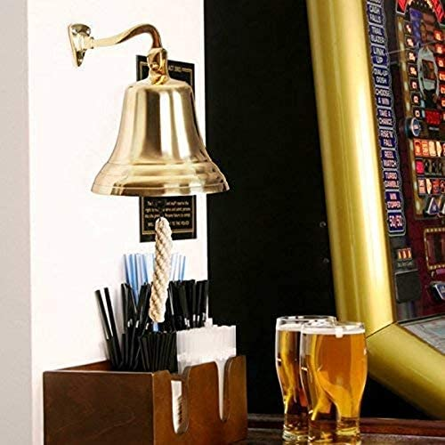 THORINSTRUMENTS with device Brass Nautical Ship Bell Maritime School,Dinner,Reception,Home Decor Wall Hanging Bell 4