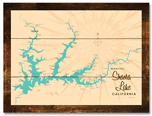 Shasta Lake California Vintage-Style Map Rustic Wood Art Print by Lakebound (18
