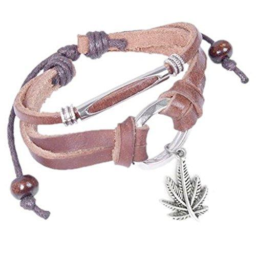Leather-Bracelet-with-Dangling-Marijuana-Leaf-Pot-Leaf-Emblem-Decal-Wristlet-Wristband-420-Hemp-Marijuana-accessories-for-men-or-women-Novelty-Marijuana-Weed-Jewelry-Slip-Knot-Pot-Bracelet