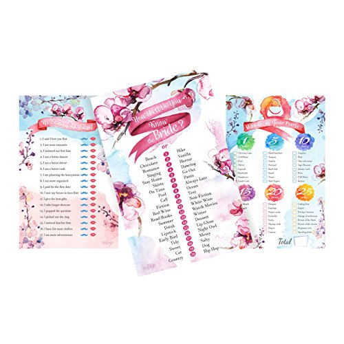 Bridal Shower Games Floral Bachelorette Party Bundle - Set of 3 - He Said She Said Game - How Well Do You Know the Bride Game - Whats In Your Purse Game   3 Pack of 50 each - 150 sheets total