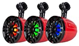 DS18 NXL-8UTVR Slim Pod Speaker (HYDRO Pair of Red Marine 8'' 2-Way with Integrated RGB LED Lights - 350 Watts Max - 125 Watts RMS), 2 Pack
