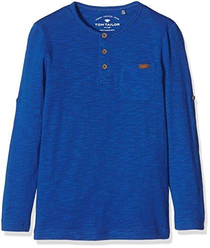 TOM TAILOR Kids Jungen Langarmshirt Basic Slub Henley, Blau (Olymp Blue 6610), 128