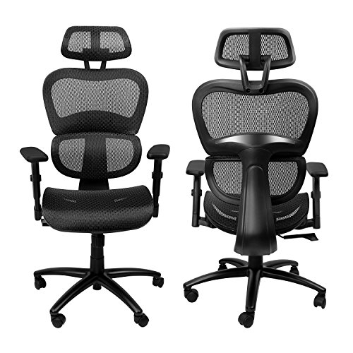 (Komene Ergonomic Mesh Office Chair, High Back Computer Chairs with Adjustable Headrest backrest, 3D Flip-up Arms, Swivel Executive Chairs More Comfortable for Height Under 5′11″)