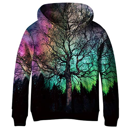 SAYM Teen Boys' Galaxy Fleece Sweatshirts Pocket Pullover Hoodies 4-16Y NO4 S ()