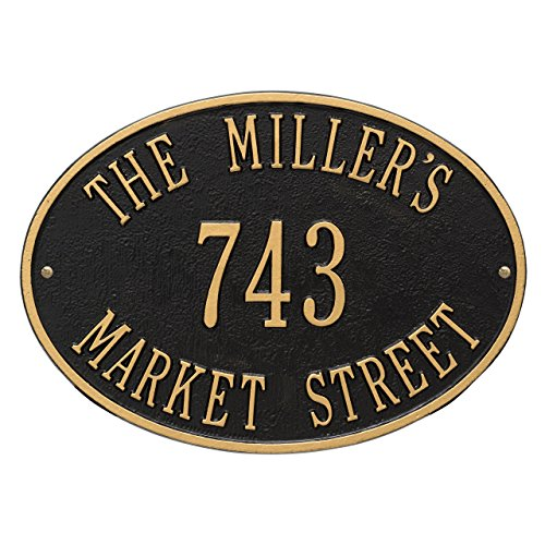Hawthorne Standard 3-Line Address Wall Plaque in Black and Gold