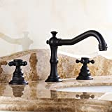 JiaYouJia Antique Black Widespread Bathroom Sink Faucet