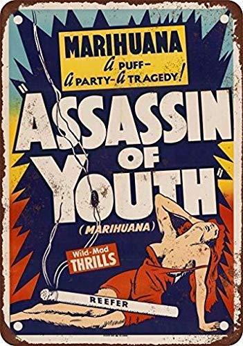 Dozili Metal Tin Sign 1937 Marijuana Assassin of Youth Funny Signs Bar Pub Decor Retro Decor 12
