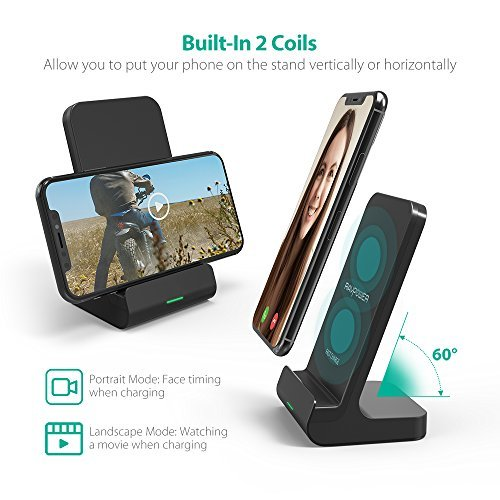 Wireless Charging Stand RAVPower 2 Coils Qi Certified Fast Wireless Charger 10W Qi for Galaxy S9, S9+, S8, S7 & Note 8, 5W Compatible iPhone XS MAX XR X 8 Plus and All Qi-Enabled Devices