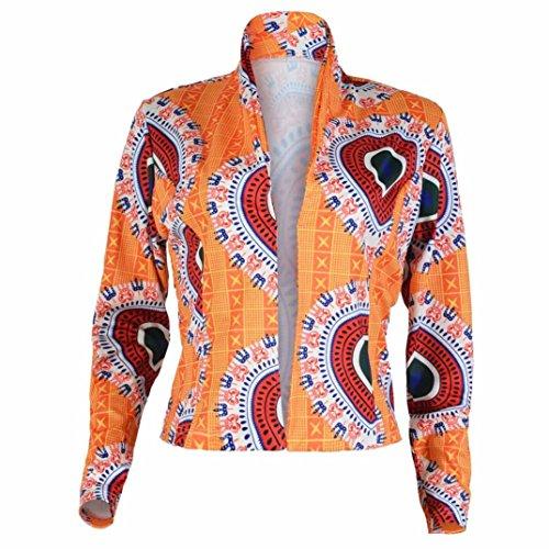 YEBIRAL Elegant Lady WildWomen Dashiki Long Sleeve Fashion African Print Dashiki Short Casual Jacket Yellow