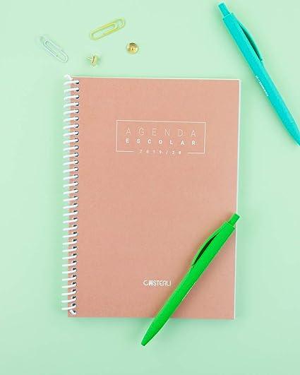 Casterli - Agenda Escolar 2019-2020 Basic Edition - Semana Vista, Tamaño A5 (Melocotón)
