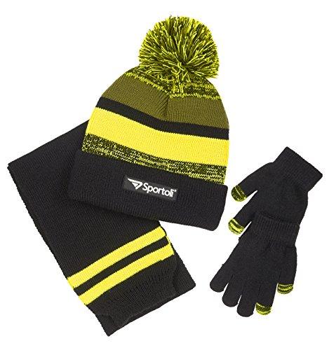 Crew Kids Glove (Sportoli Boys' Kids Knit Cold Weather Accessory Set Warm Hat, Scarf and Gloves (Black/Lime/Grey))