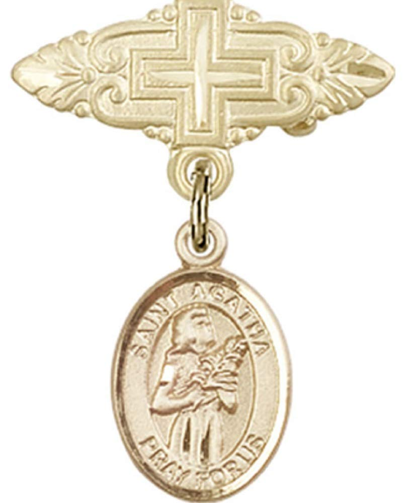 14kt Gold Filled Baby Badge with St. Agatha Charm and Badge Pin with Cross St. Agatha is the Patron Saint of Nurses/Breast Cancer 1 X 3/4