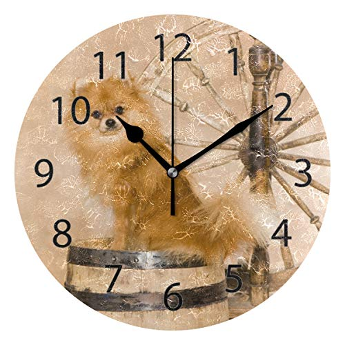 XiangHeFu Wall Clock,Round 10 Inch Diameter Silent Pomeranian Spitz Decorative for Home Office School ()