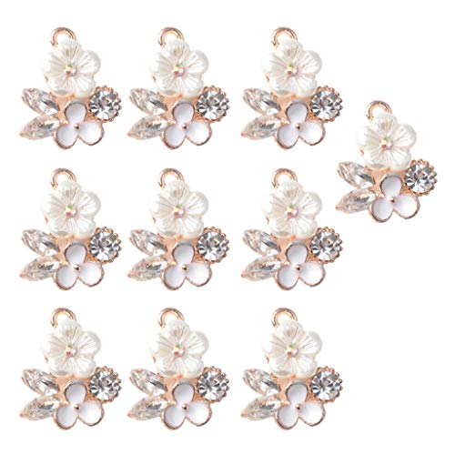 ld Alloy Flower Metal Buttons Flatback Appliques Pearl Rhinestone Embellishment for Jewelry Making Charms Phone Cover Craft Decoration ()