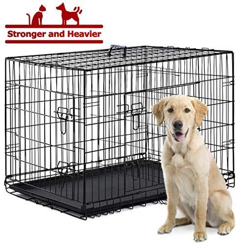 BestPet Dog Crate Cage Kennel Large Metal Wire Home Folding Double-Door Plastic Tray Pet Crate with Handle and Divider,42