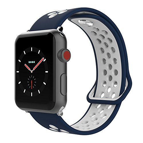 SIXRARI Compatible for Apple Watch Band 42mm 44mm, Soft Silicone Replacement Sport Nike Bands with Ventilation Holes Compatible for Smart IWatch Series 4,Series 3,Series 2 1,Nike+,Edition Blue White