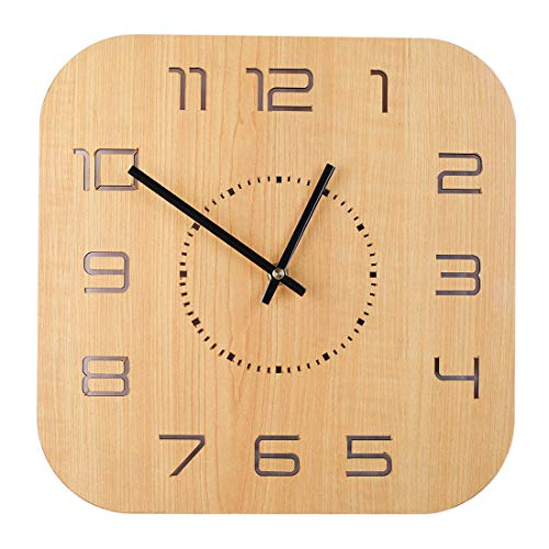 XSHION 12 Inch Square Wall Clock,Rustic Wooden Hollow-Out Clock Silent Battery Operated Wall Clock for Living Room Decor - Light Wood