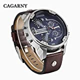 CAGARNY-Original-Mens-Sports-Leather-Strap-2-dials-can-work-Quartz-Date-Watch-6820-Silver-Brown