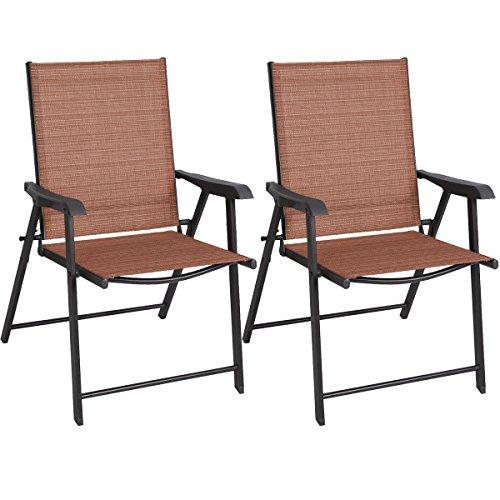 Set of 2 Patio Folding Sling Durable Steel Furniture Camping Deck Garden Pool Beach #297 (Lloyd Loom Bar Stools)