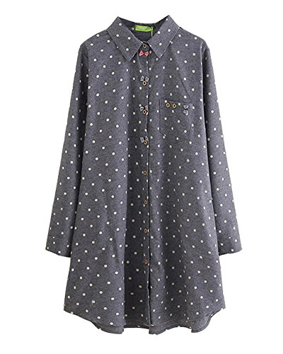 HOOBEE LINEN Women's Long Sleeve Button Down Polka Dot Printed Shirt Dress