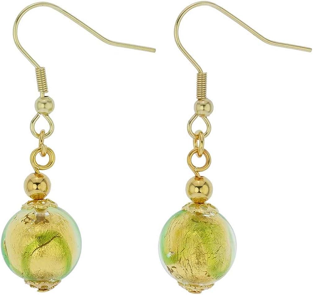 glassofvenice cristal de Murano Royal verde bola pendientes