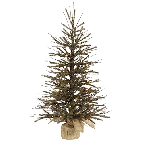 Primitive Twig - Vickerman 16949201 Pre-Lit Vienna Twig Artificial Christmas Tree with Burlap Base and Clear Lights, 18