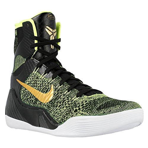 Nike Kobe IX Elite Mens Basketball Shoes 630847-077 Black Metallic Gold-Volt-Anthracite 12 M US