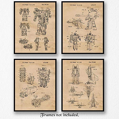 Original Transformer Toys Patent Art Poster Prints, Set of 4 (8x10) Unframed Photos, Great Wall Art Decor Gifts Under 20 for Home, Office, Studio, Man Cave, Student, Teacher, Comic-Con & Movies Fan