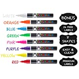 Chalk Markers 8 Pack With Bonus 24 Chalk Stickers - Premium Liquid Chalk Marker Pen with Reversible Tip - Child Friendly - Perfect for Jars, Windows, Glass, Labels, Whiteboards