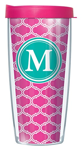 Initial Tumbler - Pink Duofoil Letter Initial Letter M Traveler 16 Oz Tumbler Mug with Lid