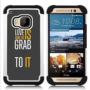 - love grey text white message yellow/ H??brido 3in1 Deluxe Impreso duro Soft Alto Impacto caja de la armadura Defender - SHIMIN CAO - For HTC ONE M9