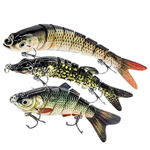 YL 0UTDOOR Fishing Lures for bass, Multi Jointed Trout Muskie Pike Swimbaits Crankbaits Popper Life-Like Fish Tackle Kits