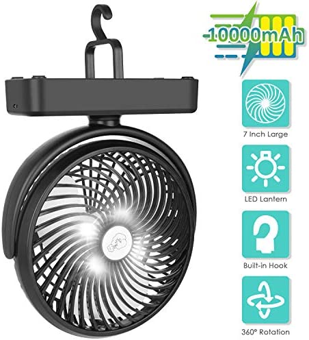 Amacool 10000mAh Battery Operated Camping Fan with LED Light-7 inch USB Fan with Hanging Hook for Tent Car RV Hurricane Emergency Outage