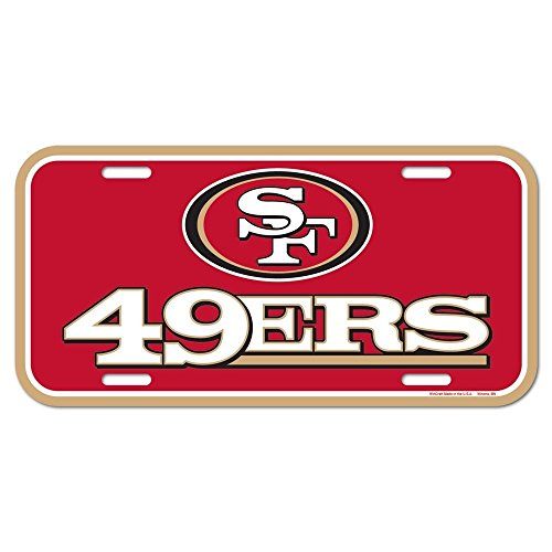 WinCraft NFL San Francisco 49ers License Plate, Team Color, One ()