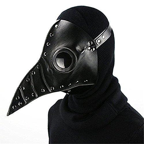 Black Plague Mask (Katoot@ Halloween Party Mask Plague Doctor Cosplay Steampunk PU Leather Mask Black)