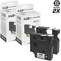 LD © Compatible Dymo 45013 Set of 2 Black on White Tapes for Dymo LabelManager & LabelPoint Label Makers