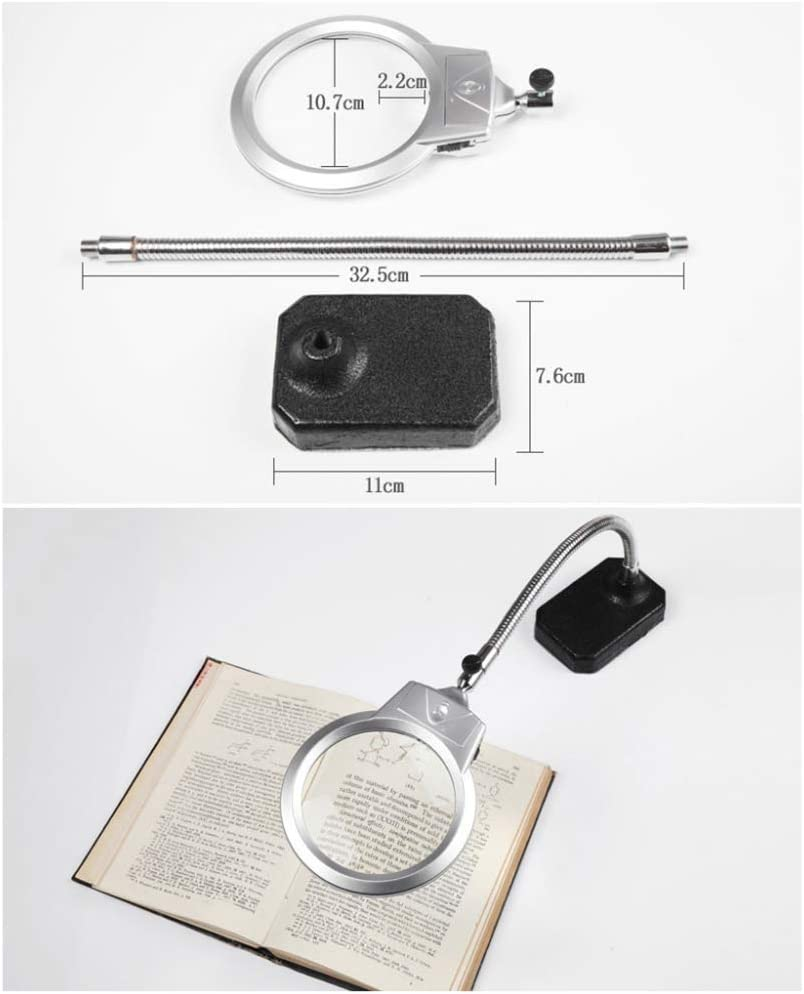 Zichen 5X Illumination Magnifier with 2 LED Light HD Lens for Book Reading Jewelry Identification DIY Crafts Engraving and Repair Silver 2.25X Magnifier