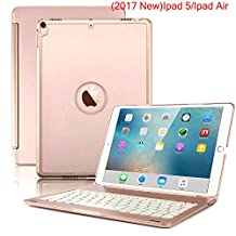 Nuevo iPad 2017 Funda Teclado, 7 colores LED retroiluminada Bluetooth iPad teclado Funda para iPad 5 a generación y ipad Air, Rose gold