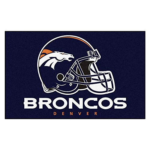 5'x8' NFL Broncos Mat Sports Football Area Rug Team Logo Printed Large Mat Floor Carpet Bedroom Living Room Bathroom Home Decor Athletic Game Fans Gift Nonslip Backing Soft Nylon, Blue Orange White ()