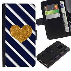 LASTONE PHONE CASE / Lujo Billetera de Cuero Caso del tirón Titular de la tarjeta Flip Carcasa Funda para Samsung Galaxy S5 V SM-G900 / Heart Glitter Lines Navy Blue Love
