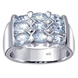 Orchid Jewelry 925 Sterling Silver Blue Topaz Cocktail Unisex Ring, (Size 8)