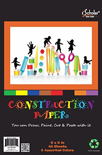 iScholar Construction Paper Tablet, Junior Size, 6x9 Inches,