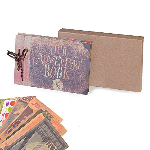 IOQSOF Our Adventure Book Handmade DIY Family Scrapbook, Wedding Photo Album, Retro Album, Anniversary Scrapbook, Wonderful Gift for Thanks Giving Gift,with Bonus Gift Box,80 Pages (large)
